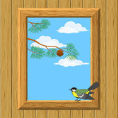 Wood window with titmouse — Stock Vector
