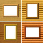 Houten frame op de muur, instellen — Stockvector