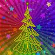 Christmas tree on rainbow background — Stock Photo