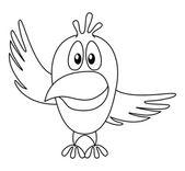 Pták s polohovacím křídlem, kontury — Stock fotografie
