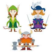 Fantasy heroes, set — Stock Vector
