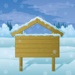 Wood sign on winter landscape — Stockfoto