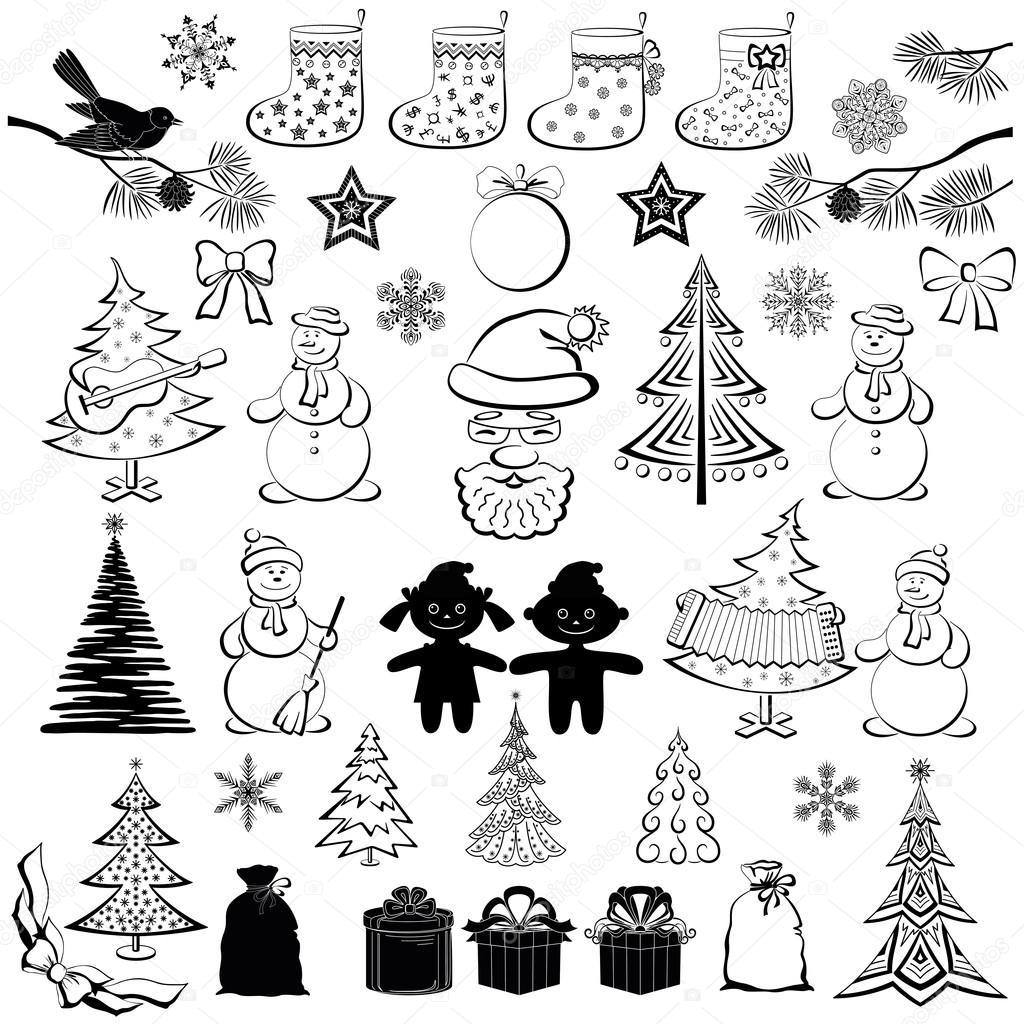 dibujos animados navidad siluetas negras set vector de. Black Bedroom Furniture Sets. Home Design Ideas