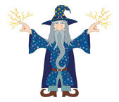 Wizard launches lightning — Stock Vector