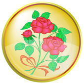 Button, red rose — Stock Photo