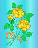 Flowers yellow rose — Stockvector