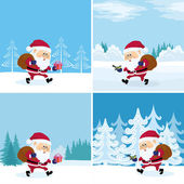 Santa Claus in forest, set — Stock Vector