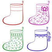 Christmas stockings, set — Stock Vector