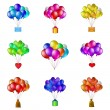 Balloons bunches, set — Stock Vector #14619117