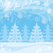 Vánoční pozadí, zimní les — Stock fotografie