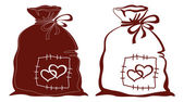 Bag with hearts, silhouette, set — Stock Vector