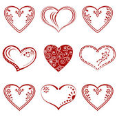 Valentine heart, pictogram, set — Stock Vector