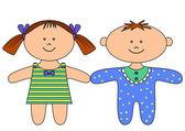 Rag dolls, boy and girl — Stock Vector