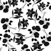 シームレスな花の背景、黒いシルエット — ストックベクタ