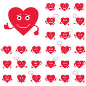 Valentine hearts, smileys, set — Stock Vector