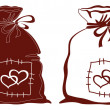 Bag with hearts, silhouette, set — Stock Photo