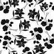 Seamless floral background, black silhouettes — Stock Photo