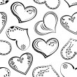 Seamless background, outline hearts - Stock Photo