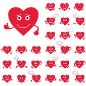 Valentine hearts, smileys, set — Stock Photo