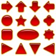 Stock Vector: Red glass buttons, set
