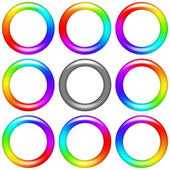 Rainbow ring, set — Stock Vector