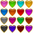 Colorful icons hearts, set - Stock Photo