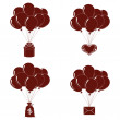 Balloons bunches, silhouette, set — Stock Photo