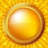 Glass porthole on gold background — Stock Vector