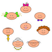 Cheerful faces — Stock Vector