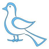 Blue bird on a branch — Stock Vector
