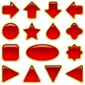 Conjunto de botones de cristal rojo — Foto de Stock