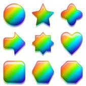 Rainbow glass buttons, set — Stock Photo
