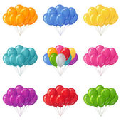 Balloons bunches, set — Stock Vector