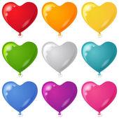 Balloons, heart shaped, set — Stock Vector