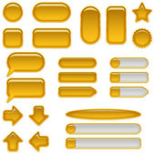 Gold glass buttons, set — Stock Photo