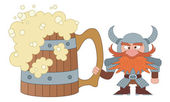 Dwarf with great beer mug — Stock Vector
