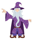 Wizard points his finger at something — Stock Vector