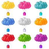 Balloons with a gift boxes, set — Stock Vector