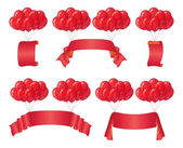 Balloons bunches with banners, set — Foto de Stock