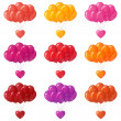 Royalty-Free Stock Photo: Balloons bunches with hearts, set