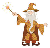 Wizard casting spell with magic wand — Stock Vector