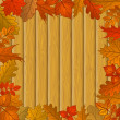 Autumn leaves and wooden fence — Stock Photo