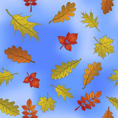 Autumn leaves on sky, seamless — Stock Photo