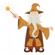 Wizard casting spell with magic wand — Stock Photo