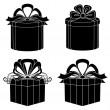 Gift box, silhouette, set — Stock Photo