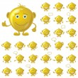 Golden smileys, set - Stock Vector