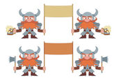 Dwarfs with banners, set — Stock Photo