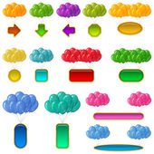 Balloons bunches with banners, set — Stock Photo