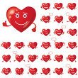 Valentine hearts, smileys, set - Stock Photo