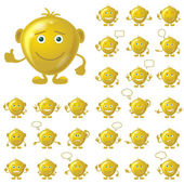 Golden smileys, set — Stock Photo